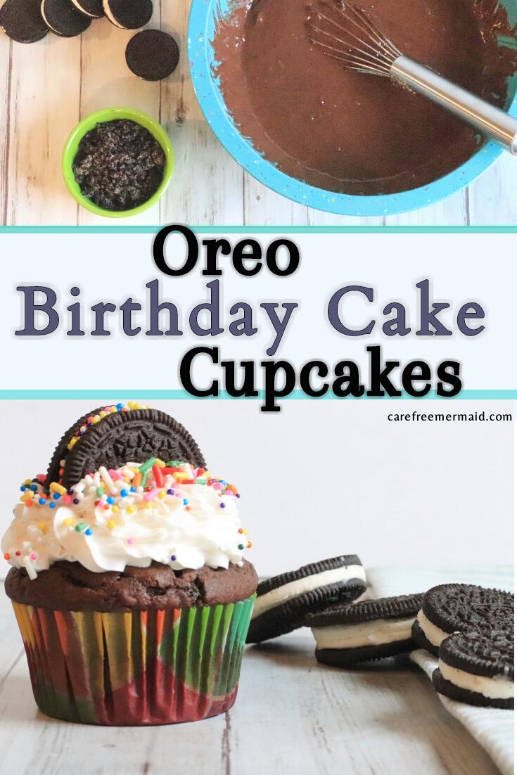 Stupendous Oreo Birthday Cake Cupcakes Carefree Mermaid Birthday Cards Printable Riciscafe Filternl
